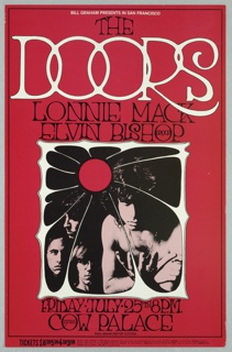 Poster featuring a black and white photograph of the band, The Doors on a red background. Text in black and white: BILL GRAHAM PRESENTS IN SAN FRANCISCO THE / DOORS / LONNIE MACK / ELVIN BISHOP GROUP [ticket information below].