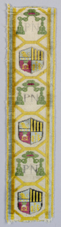 """Trimmings for coach or livery woven in multicolored velvet in a design designated for bishops. Green galero (hat) with tassels alternates with a heraldic shield. The initials """"PN"""" appear between the tassels."""