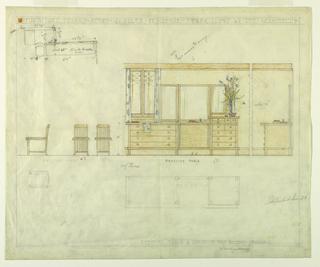 Drawing, Henry J. Allen Residence, Wichita, KS: Dressing Table and Chair for Mrs. Allen's Boudoir, 1917