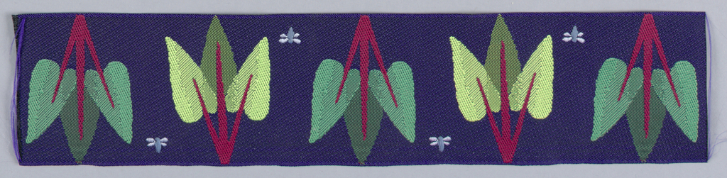 Row of alternating up and down sylized plant with three leaves and a small winged blue bug to the side. Red and shades of green on dark blue.