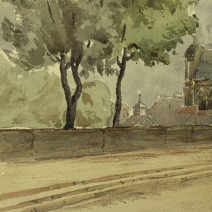 View looking across the bridge to the Marque, Paris.