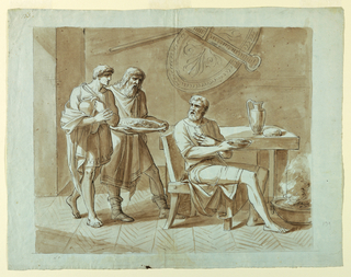 Horizontal rectangle showing a classical scene of bearded soldier seated on a klismos chair at a table with a bowl of food in his hand tuning to two attendants who approach with food and drink. Pencil framing line.