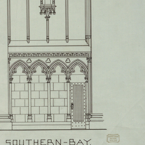 """Two interior elevations. Both bays have niches in center of wall and door at floor level. Scale ¼"""" to 1"""". Designs for two cathedral bays; labeled under left bay: NORTHERN-BAY; under right bay: SOUTHERN-BAY."""