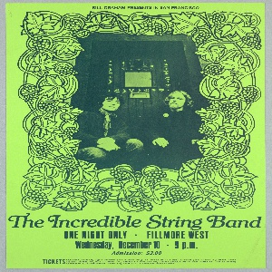 Poster in blue on light green ground. Photograph of two men sitting in a doorway framed by drawing of grapevines. Text in lower margin: The Incredible String Band [ticket information below].