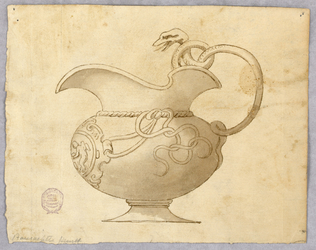 A wide ewer, spout facing left. The handle formed from a snake. At the front, a medallion with a putto framed with strapwork, attached to vase with curling rope.