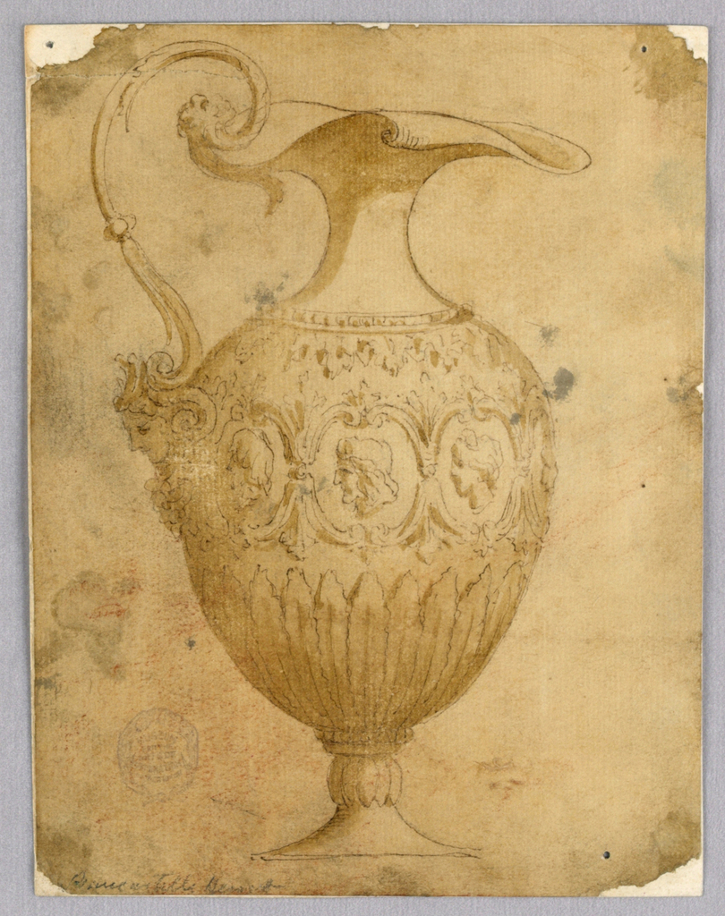 An ewer with the scrolling spout facing right. Scrolling handle with a mask at the bottom. Series of portraits at center.