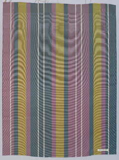 Vertically-striped wide moiré ribbon in mauve, blue-grey, dark yellow, and white.
