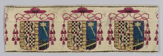 Eight fragments of trimmings for coach or livery in multicolored velvet with the heraldry of family, profession or Catholic Church.