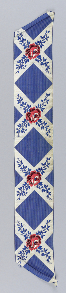Blue ribbon with crossing white lines and red roses with blue leaves.