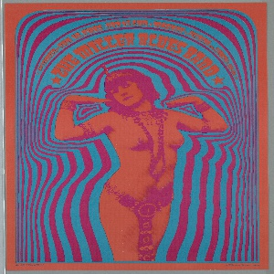 Poster featuring psychedelic image of a partially nude woman in orange and pink wearing Eastern garb with blue and pink concentric outlines. Printed in orange text, within lines at upper center: * SAN FRANCISCO * JAN 10, TUES-JAN 15, SUN * MATRIX * FILLMORE NEAR COMBARD * 567-0118 * / * THE MILLER BLUES BAND *; orange framing line.