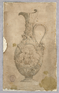 A faceted ewer, spout facing left. The handle terminating with a mask. Entirely decorated with floral designs in sculptural relief. C and S-curve cartouche surrounds a scene with lovers.