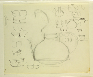 Drawing, Studies of teapots; detai