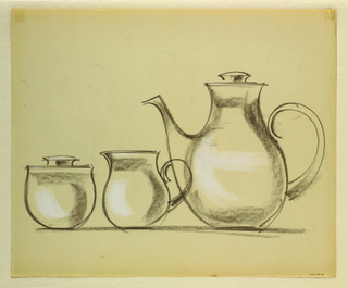 Drawing, Coffee pot, cream pitcher