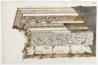 Depiction of a left corner fragment of an entablature, partially overgrown with plants, featuring a banded frieze with rinceaux and dragon motifs upon a blue ground.