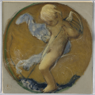 A small putto in a roundel pulls a string from an object below him.
