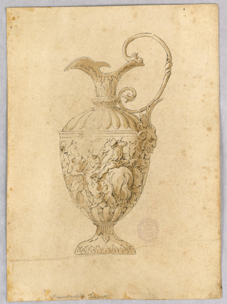An ewer with the spout facing left. Scrolling handle with a mask at the bottom. Body decorated with war scene.