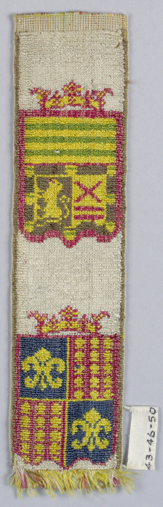 Two crowned banners with armorial devices in blue, red, yellow, green, and brown on white.