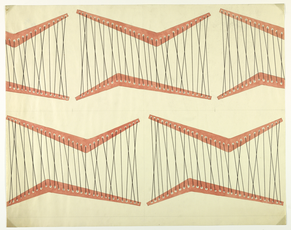 """A repeating """"loom-like"""" motif of pink """"v"""" shapes through which is threaded black strings.  This motif is reproduced twice in the lower section and once, with two half motifs on either side, in the upper section.  This design forms one full repeat."""