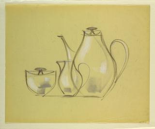 Drawing, Coffee pot, sugar bowl, c