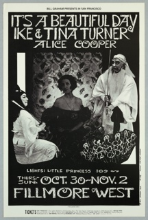Black and white poster featuring photographs of three figures in costume against floral background. Above, in white: IT'S A BEAUTIFUL DAY / IKE & TINA TURNER / ALICE COOPER. Below: ticket information.