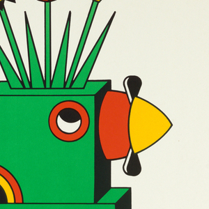 Vertical rectangle. On white ground, a fanciful green robot toy viewed in profile, walking towards the right. A black propeller defines the red and yellow nose, and three flowers grow from the top of the creature's head. Printed text at top and bottom, black rectangular framing line.