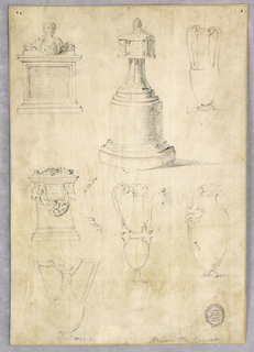 Sheet with sketches. At bottom and upper right, four designs for bases and ewers in the classical style, with high handles. At upper left, three designs for tomb, one with a festoon, and one with an effigy.