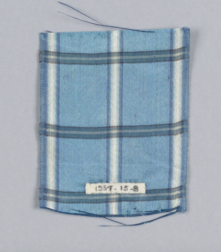 Blue satin with blue and white plaid.