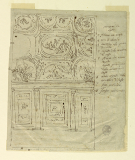 Above, design for a ceiling divided into decorated segments. Below is the elevation of a wall divided by pillars into three decorated bays. They are explained in the captions.
