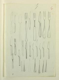 Design of flatware: forks and knives.