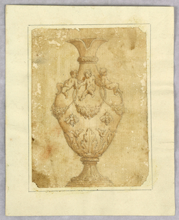 Vertical rectangle showing an ewer with three putti and bees.