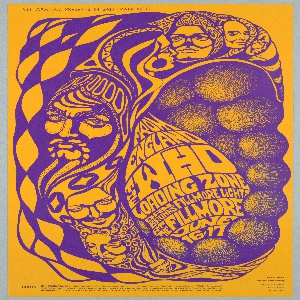 Poster features psychedelic purple design on mustard yellow ground. Images of The Who band members engulfing spheres with text: FROM / ENGLAND / THE WHO / LOADING ZONE / AT THE FILLMORE / JUNE / 16-17. [additional information]