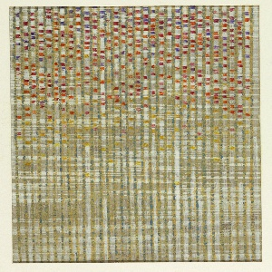 Vertical design of variegated stripes of gold and white with purple, yellow, orange and red little rectangles in between the stripes and clustered in the top three-quarters of the curtain.  A photograph of the woven curtain affixed to mount at lower right.