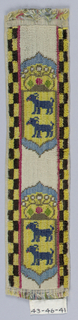 Crowned yellow shield with two goats in blue, on white ground.  Yellow and black checkerboard borders.