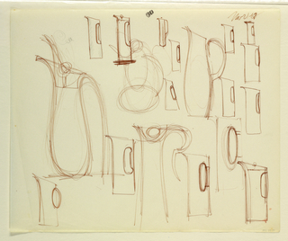Drawing, Studies of pitchers, 1967