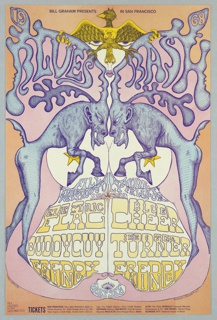 Poster featuring two demonic moose/deer facing each other with antlers in the form of letters: BLUES BASH. Ticket information below.