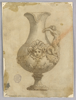 Design for an ewer, the spout facing forward. At center, a mask in sculptural relief flanked with two swags. Handle composed of a mermaid.