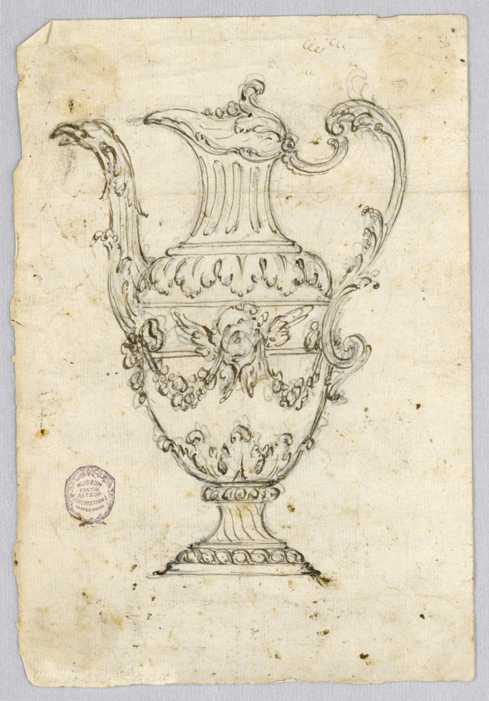 Design for an ewer with spout facing left. Scrolling handle and bird head spout. Cherub head and swag at body.