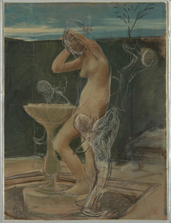 Vertical orientation. Scene of a bather at a basin in a small walled enclosure, with indication of three putti around her.