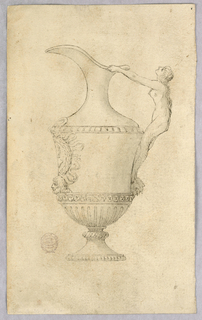 A ewer, spout facing left. Handle composed of a mermaid. Medallion and mask at front.