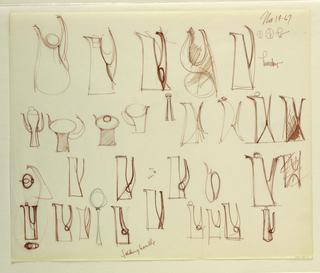 Drawing, Studies of pitchers; deta, 1967