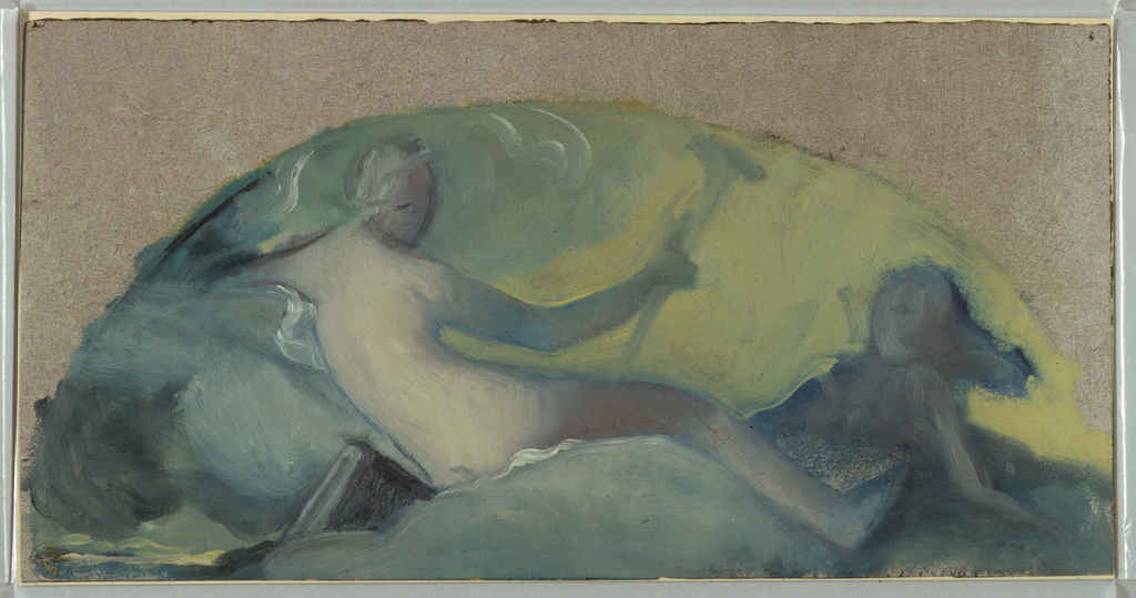 A figure reclines with back to the viewer as she faces another figure to her right.