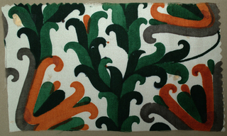 Stylized vegetal pattern in black, gray, dark green and brick on an ivory ground.