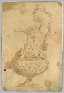 Design for an ewer with a high scrolling handle. Three putti, one holding coat-of-arms at front. Entirely decorated with flowers and butterflies.