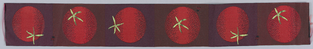 Row of tomatoes in 4 different rotating positions. Black warp with red weft.