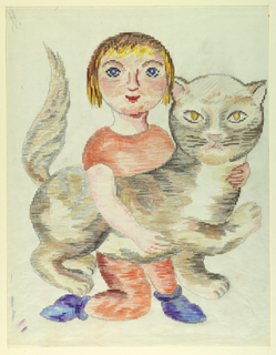 Drawing, Child with Cat (Mise-en-carte)