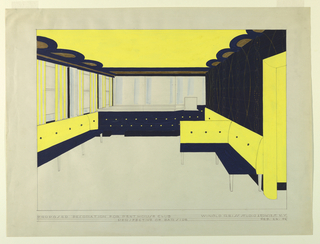 Drawing, Perspective of Bar Side, Penthouse Club, 1946