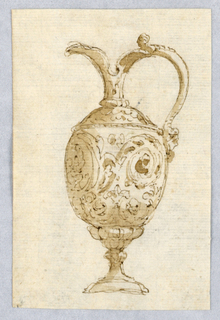 Vertical rectangle showing design for a pitcher in the antique style.