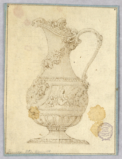 A footed ewer, spout facing left. Under the top of the handle, a mask. A garland hangs under the spout. Coat-of-arms and tablet with figural decoration along body. Gadrooning at base.