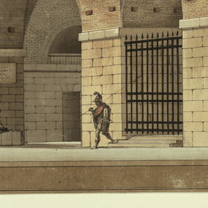 Horizontal rectangle. Design for a stage set.  View of prison cells through enormous vault.  Series of vaulted spaces/hallways.  Small figures, prisoners and guards, at the right hand side of the composition: prisoner in chains, armed guard on watch, and crowd of people approaching with a torch.