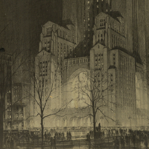 Night scene of a skyscraper consisting of a massed cluster of low tiered sections below culminating in a monumental tower. The structure is illuminated by the city street lights below and streams of light from a chapel- like central section. A white cross is visible at the top of the tower. Pedestrians walk among silhouetted leafless trees below.